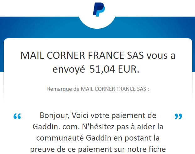 Gaddin preuve de paiement Paypal